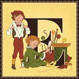 Children book cartoon fairytale alphabet. Letter E. The Elves and the Shoemaker by Grimm Brothers Stock Photo