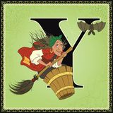 Children book cartoon fairytale alphabet. Letter Y. Baba Yaga from Russian Folk Fairy Tales Stock Image