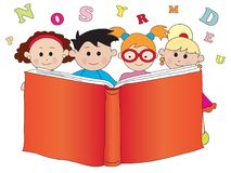 Children with book. Happy children with a big book Royalty Free Stock Photo