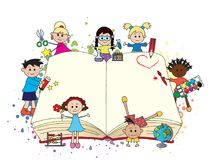 Children with book. Happy children with big open book Stock Images