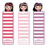 Children bookmark cartoon with cute girls on colorful style suitable for kid bookmark vector illustration