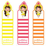 Children bookmark cartoon illustration with cute chick girls on colorful style suitable for kid bookmark design. And banner royalty free illustration