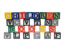 Children Books. Spelled using letter blocks, with everything in black and white except for those words Stock Image