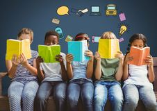 Children with books and education graphics drawings Stock Images