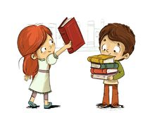 Children with books in library. Illustrated young boy and girl with books in library or bookstore stock illustration