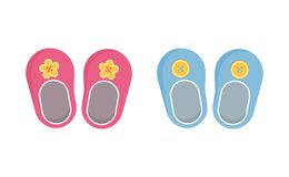 Children booties decorated with buttons vector illustration set. Children booties decorated with buttons vector illustration set - pair of pink and blue newborn royalty free illustration