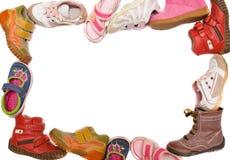 Children boots frame. On white background Stock Photo