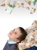 Children and box with money. Happy and surprise children with a lot of money Royalty Free Stock Image