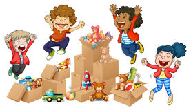 Children and boxes of toys Royalty Free Stock Photos