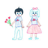 Children, boy with flowers in hands and girl.  Children drawing. Children, boy with flowers in their hands and the girl.  Children drawing markers and crayons Stock Photo