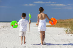 Children, Boy, Girl, Brother & Sister Playing on Beach Royalty Free Stock Photo