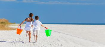 Free Children, Boy Girl Brother Sister Running Playing On Beach Royalty Free Stock Photography - 128061157