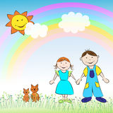 The children, boy, girl, cats and rainbow. The children, boy and girl with cats on the meadow under the rainbow Royalty Free Stock Photography