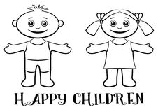 Children, Boy and Girl Contours Royalty Free Stock Images