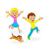 Children,boy, girl and dog running Royalty Free Stock Photography