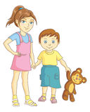 Children. The boy and girl are holding hands. Vector illustration Stock Photo