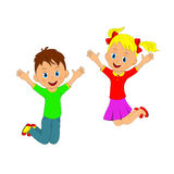 Children,boy and girl jumping Royalty Free Stock Image