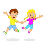 Children,boy and girl jumping Stock Photos