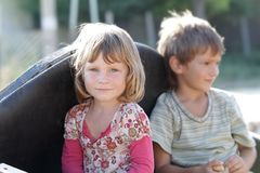 Children - boy and girl - on nature Stock Photos