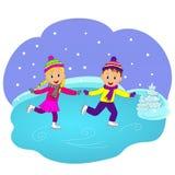 Children, boy and girl skating Royalty Free Stock Image