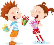 Children - Boy and Girl Unwrap Gifts isolated - vector illustration. Children - Boy and Girl Unwrap Gifts isolated on white - vector illustration Stock Photo