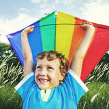 Children Boy Playing Kite Enjoyment Concept Stock Photos