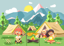 CHildren boy sings playing guitar with girl scouts, camping on nature. Stock vector illustration cartoon characters children boy sings playing guitar with girl Royalty Free Stock Images