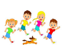 Children,boys,girl and dog running, Royalty Free Stock Photos