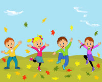 Children,boys and girl jumping and waving their hands Stock Photo