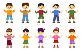 Children Boys Girls. Healthy children. The five boys. Five girls. The heart-warming character illustrations. Smiling children Stock Photography