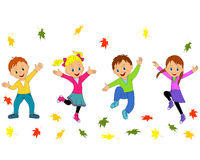 Children,boys and girls jumping and waving their hands Royalty Free Stock Photos
