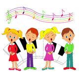 Children, boys and girls singing Royalty Free Stock Images
