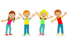 Children,boys and girls smiling with their hands up Stock Image