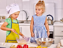 Children  breakfast at kitchen Stock Photos