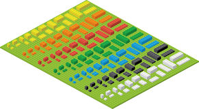Children Brick Toy Simple Colorful Bricks On Green Pad Royalty Free Stock Images