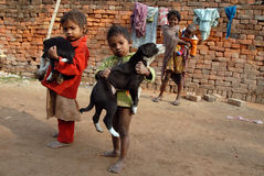 Children at the Brickfield in India Stock Image