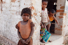 Children at the Brickfield in India Stock Photos