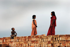 Children at the Brickfield in India Stock Images