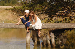 Children on bridge royalty free stock image