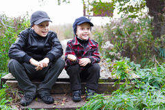 Children brothers country fall happy. Smile Royalty Free Stock Photo