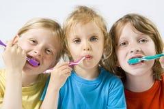 Children brushing teeth Stock Image