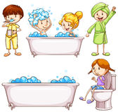 Children brushing teeth and taking bath Stock Photography