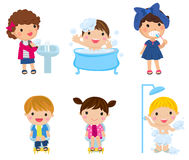 Children brushing and washing Stock Photo