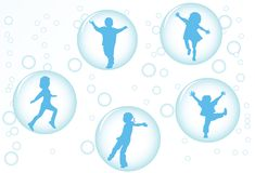 Children in bubbles. Happy kids floating  in bubbles Stock Image