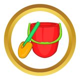 Children bucket with shovel vector icon Stock Photography