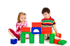 Children build a palace from blocks Royalty Free Stock Photos