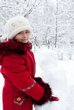 Children build the snowman Royalty Free Stock Photo