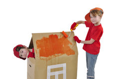 Children Building A Toy House Royalty Free Stock Photo
