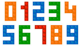 Children Building Blocks Numbers Font. Vector Illustration Stock Photography