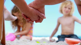 Children building sand castles Royalty Free Stock Image